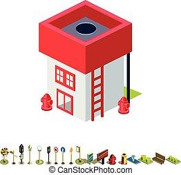 bâtiment, isométrique, brûler, vecteur, station, icône