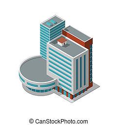 bâtiment, isométrique, bureau