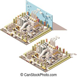 bâtiment, isométrique, canaux transmission, usine, vecteur, fumer, icône