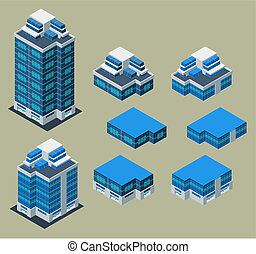 bâtiment, isométrique