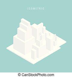 bâtiment, isométrique, ensemble, city., illustration, vecteur, blanc