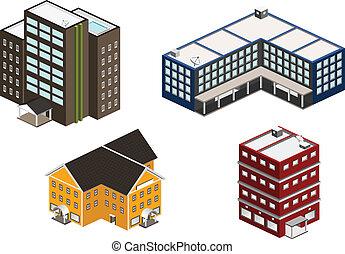 bâtiment, isométrique, ensemble