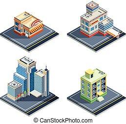 bâtiment, isométrique, ensemble, icône