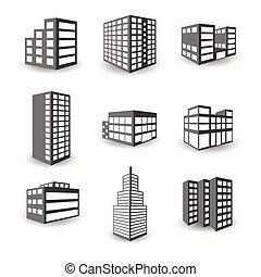bâtiment, isométrique, ensemble, icônes, isolé, vecteur, ...