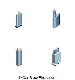 bâtiment, isométrique, ensemble, urbain, business, construction, objects., centre, inclut, résidentiel, aussi, vecteur, extérieur, elements., autre, gratte-ciel