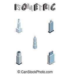 bâtiment, isométrique, ensemble, urbain, business, objects., centre, vecteur, inclut, aussi, appartement, cityscape, cityscape, elements., autre, extérieur