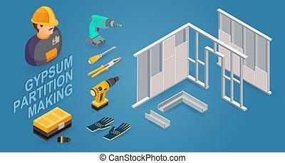 bâtiment, isométrique, gypse, work., cloison, icons.,...