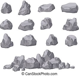 bâtiment, isométrique, rocher, naturel, set., shapes., pierre, collection, isolé, décoration, vecteur, galets, granit, stones., dessin animé, bloc, 3d