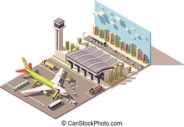 bâtiment, isométrique, soutien, poly, terminal, équipement, aéroport, vecteur, bas, sol avion
