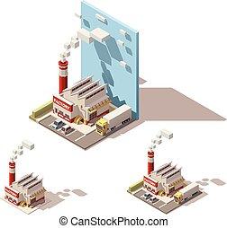 bâtiment, isométrique, usine, tuyau, vecteur, fumer, icône