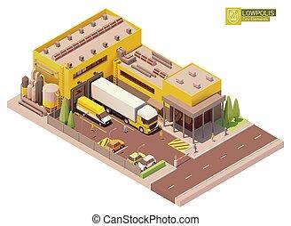 bâtiment, isométrique, usine, vecteur
