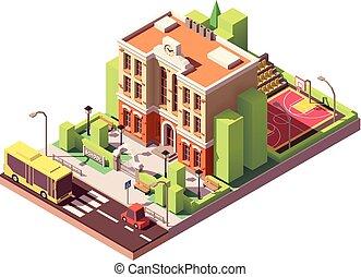 bâtiment, isométrique, vecteur, école