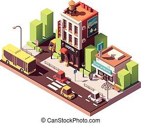 bâtiment, isométrique, vecteur, hôtel