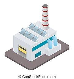 bâtiment, isométrique, vecteur, usine, icône