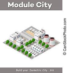 bâtiment, isométrique, vecteur, usine