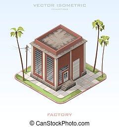 bâtiment, isometric., usine, illustration, vecteur, brique