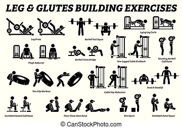bâtiment, jambes, figure, pictograms., crosse, glutes, muscle, exercice