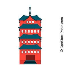 bâtiment, japonaise, temple, icône