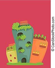 bâtiment, jardin, illustration