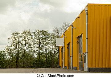 bâtiment, jaune