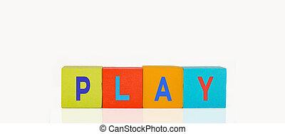 bâtiment, jeu, blocs jouet, coloré