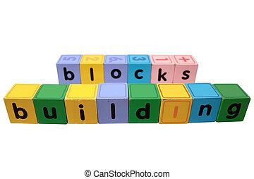 bâtiment, jeu, jouet, lettres, contre, blocs, blanc, bloc