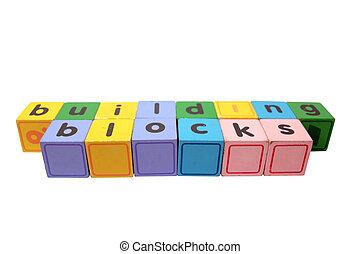 bâtiment, jeu, lettres, contre, bois bloque, blanc, bloc