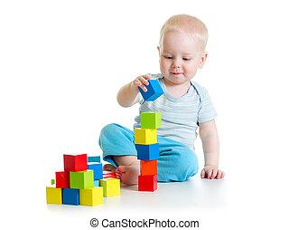 bâtiment, jouets, bébé bébé, bloc jouant