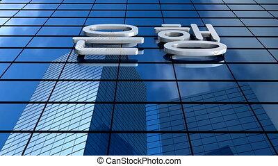 bâtiment, korean., banque