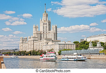 bâtiment, kotelnicheskaya, haut-ascension, moscou, remblai,...
