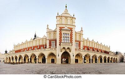 bâtiment, krakow, sukiennice, pologne, étrange, perspective