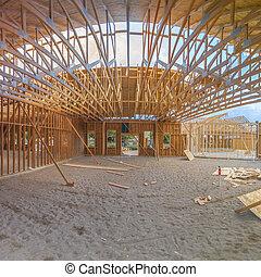bâtiment, large, carrée, angle, construction, intérieur