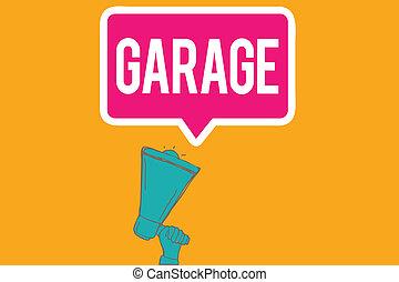 bâtiment, les, business, photo, projection, véhicules, garage., écriture, note, mettre, véhicule automobile, showcasing, ou, logement