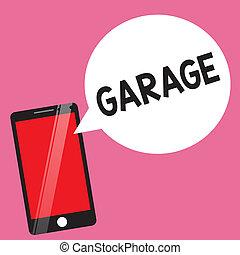 bâtiment, les, concept, texte, logement, véhicules, garage., signification, véhicule automobile, mettre, écriture, ou