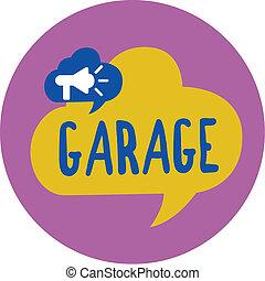 bâtiment, les, photo, texte, projection, véhicules, garage., signe, mettre, véhicule automobile, conceptuel, ou, logement