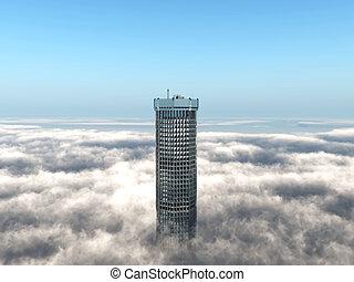 bâtiment, levée, nuages, au-dessus, bureau