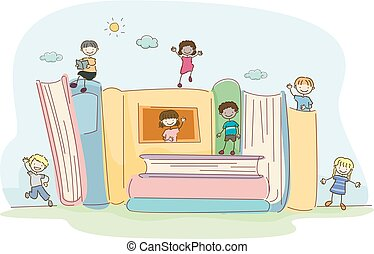 bâtiment, livres, stickman, illustration, gosses