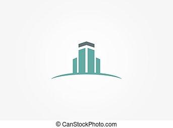 bâtiment, logo, résumé, vecteur, realty