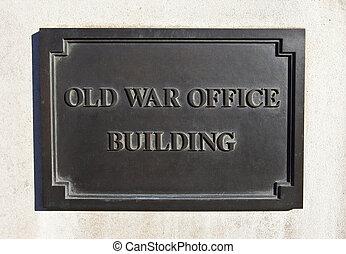 bâtiment, londres, vieux, guerre, bureau