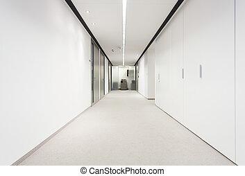 bâtiment, long, couloir, bureau
