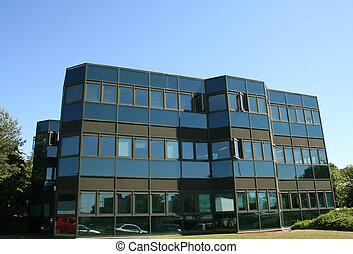 bâtiment, lowrise, noir, bureau