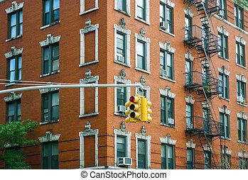 bâtiment, lumière ville, trafic, york, façade, nouveau