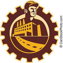 bâtiment, mécanicien, ouvrier, usine, dent