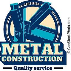 bâtiment, métal, cadre, construction, logo.