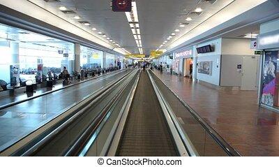 bâtiment, métal, verre, aéroport, en mouvement, planche, speedwalk
