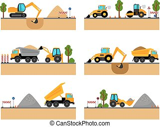 bâtiment, machinerie, vecteur, site, icônes