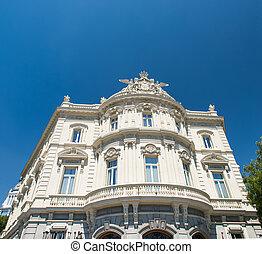 bâtiment, madrid, blanc