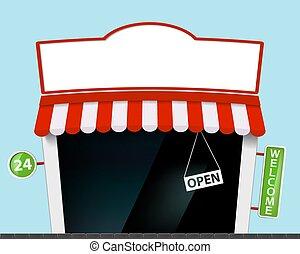 bâtiment, magasin, façade, enseigne, storefront.