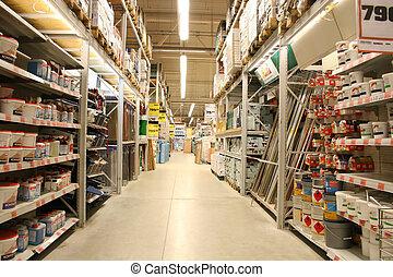 bâtiment, magasin, matériels