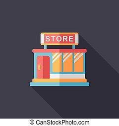 bâtiment, magasin, ombre, plat, long, magasin, icône